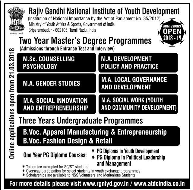 RGNIYD Sriperumpudur Master Degree Programmes Admission 2018-2019