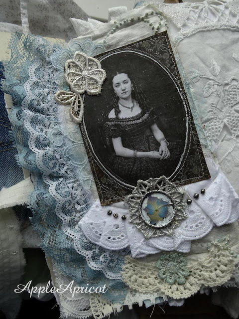 fabric and lace journal by AppleApricot