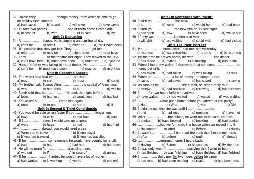 قواعد امتحان اللغة الانجليزية للصف الثامن والتاسع تشمل الفصلين 1442