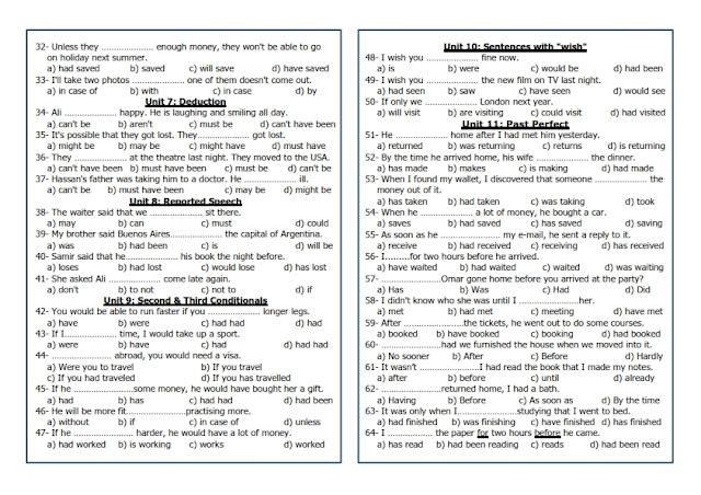 قواعد امتحان اللغة الانجليزية