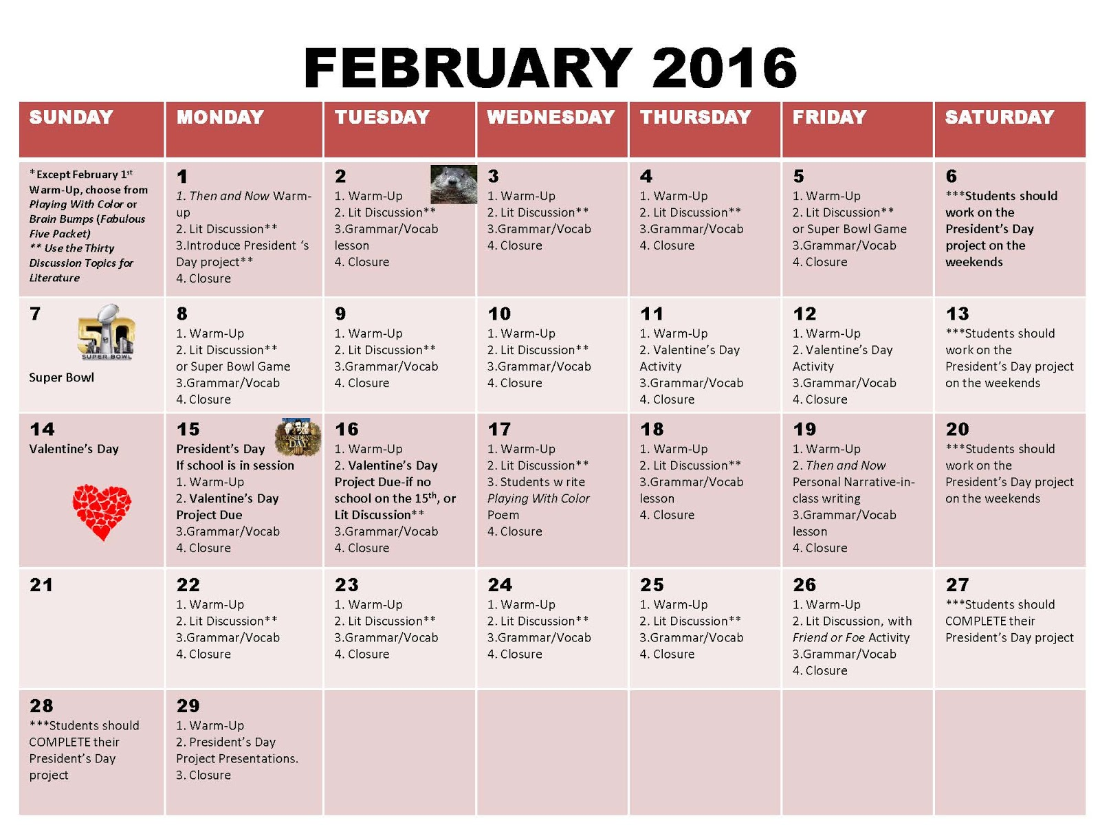 Calendar Concepts Worksheet