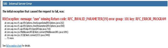 SAP Netweaver Blog: RfcException: message: 'user' missing Return