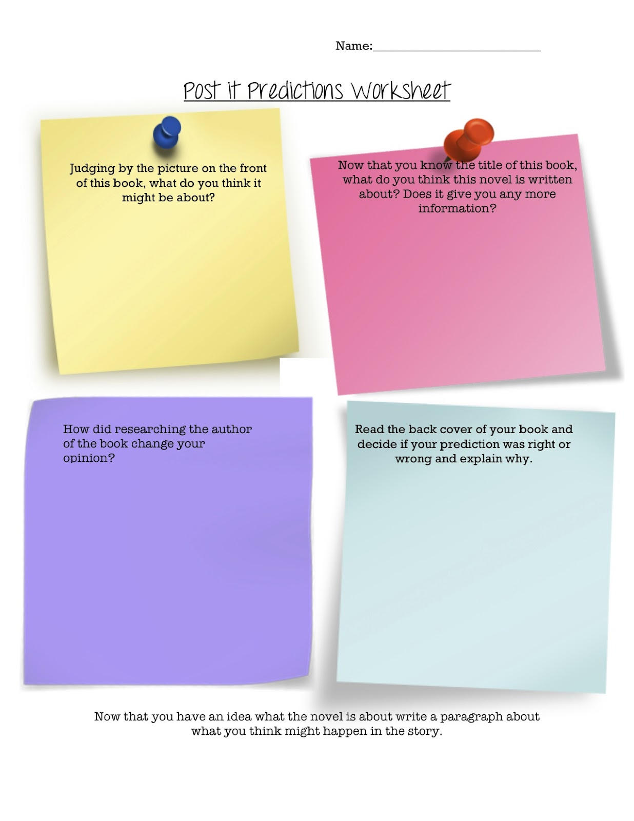 Teaching With Class Post It Predictions Worksheet