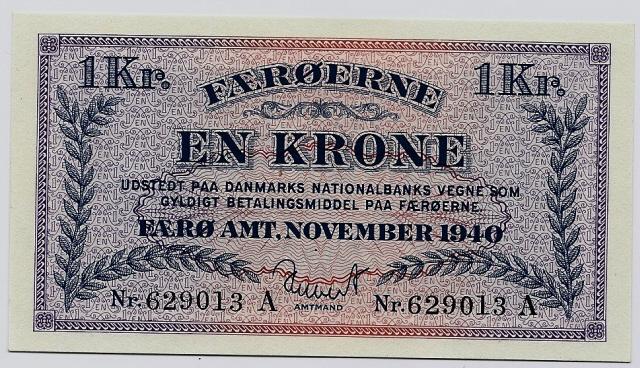 Old currency banknotes Faroese króna