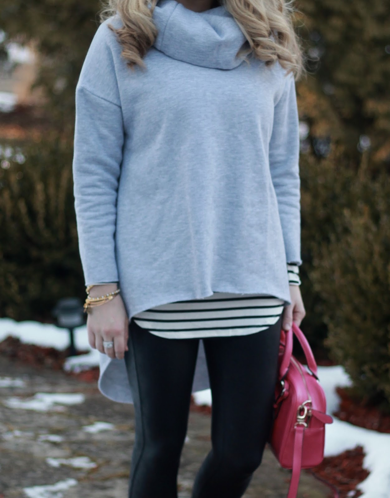 cowl neck tunic sweatshirt, striped tee, spanx leather leggings, tennis shoes