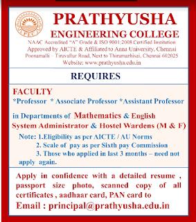 Prathyusha Engineering College Wanted Professor Associate