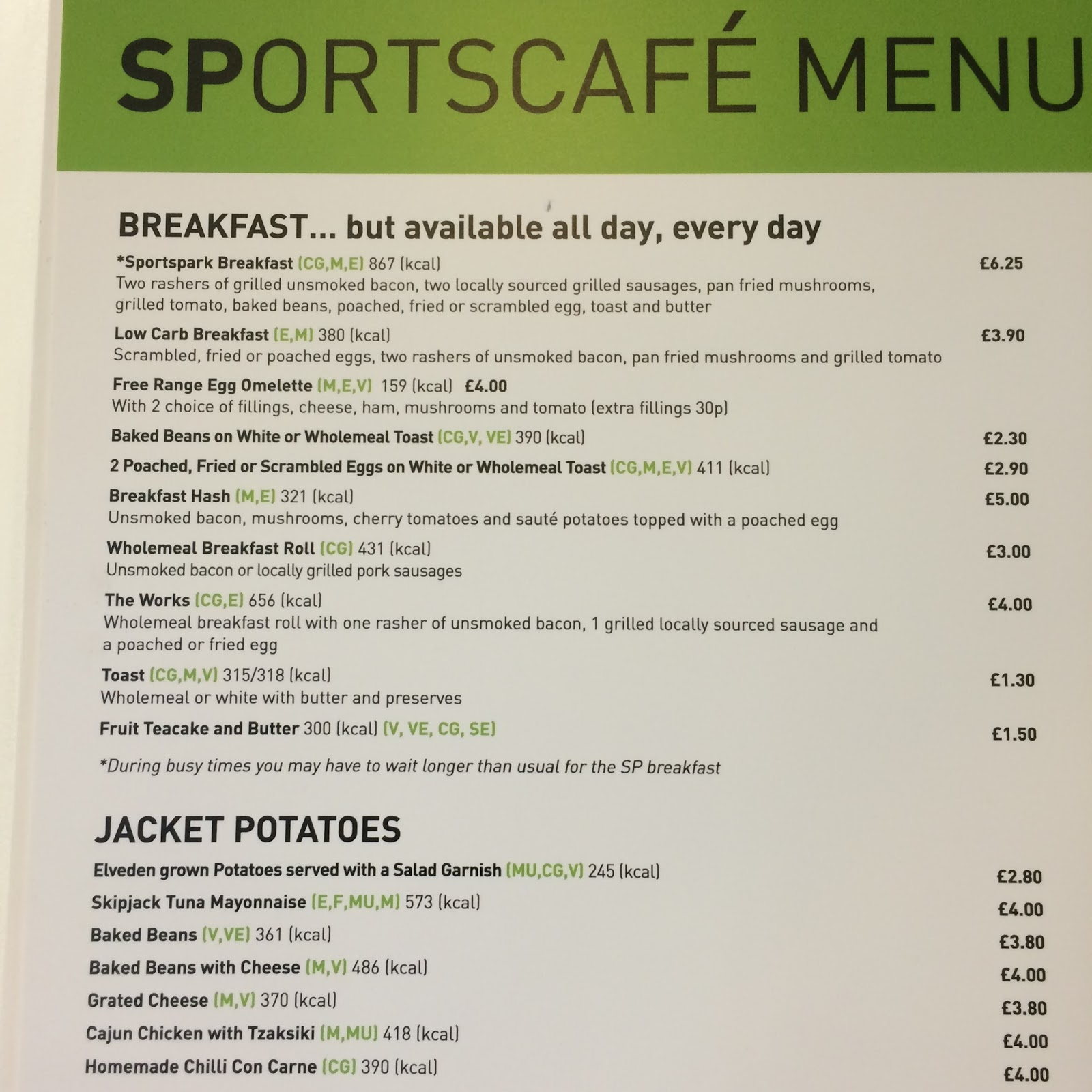 The Fry up Inspector: UEA Sportspark Cafe - Norwich