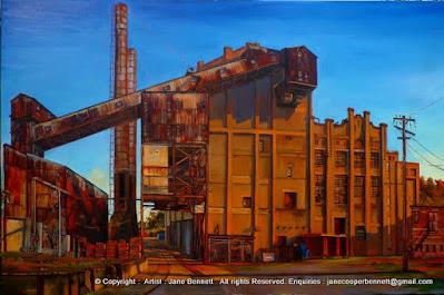 plein air oil painting of White Bay Power Station by artist Jane Bennett