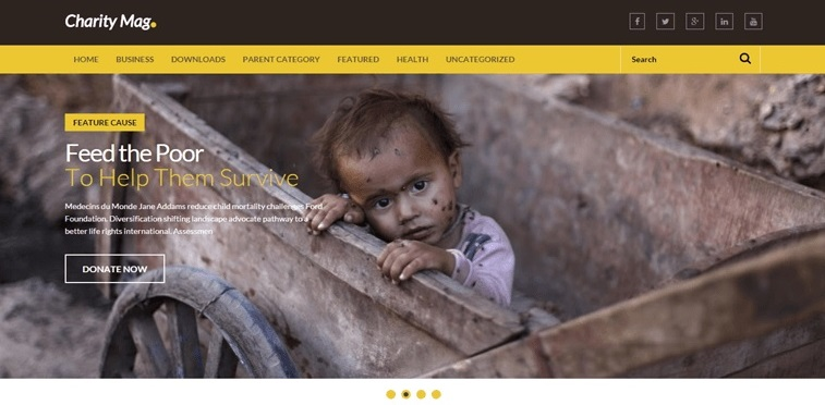 Charity Mag Full Width Blogger Templates