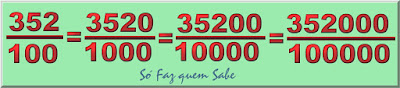 O número 3,52 escrito de várias maneiras em fração decimal. Multiplicando o numerador e o denominador pelo mesmo número a fração não se altera