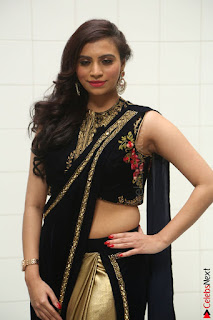 Priyanka Ramana in Beautiful Designer Black Saree At We Craft Elegance Expo Launch 032.JPG