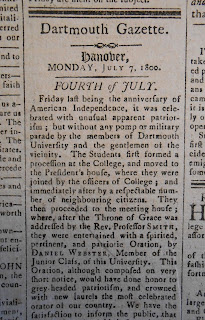 Dartmouth Gazette article on 1800 July Fourth celebrations in Hanover
