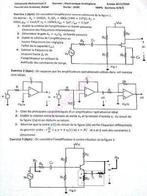 contrôles corrigés électronique analogique smp 5 FSR Rabat