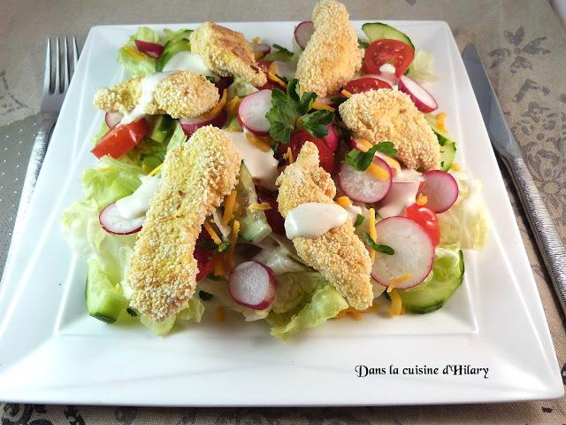 Salade printanière au poulet croustillant