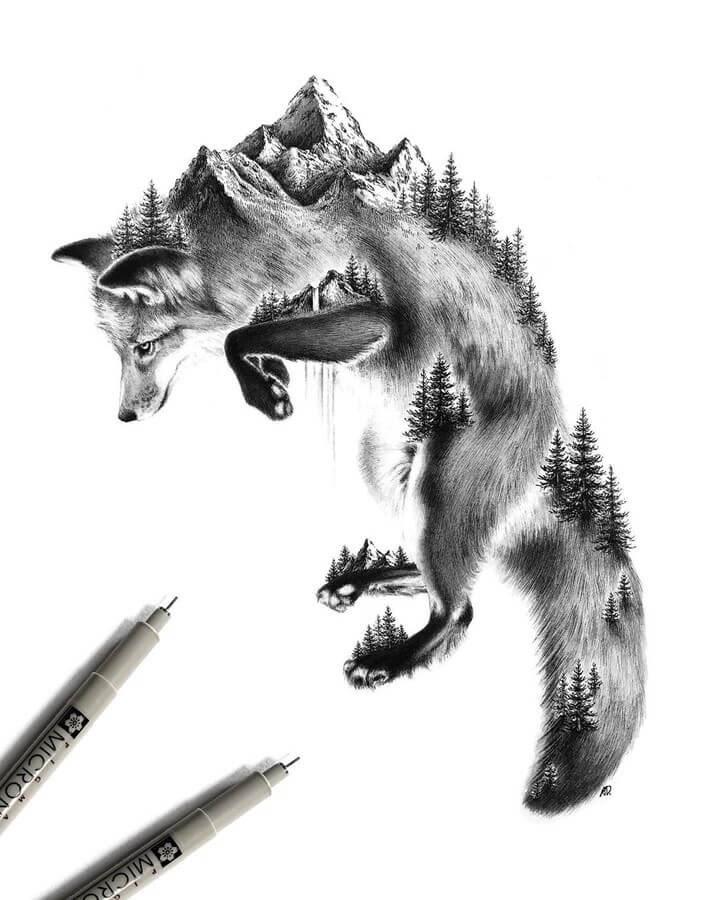 10-Fox-Alyse-Dietel-Animal-Drawings-Surrealism-www-designstack-co