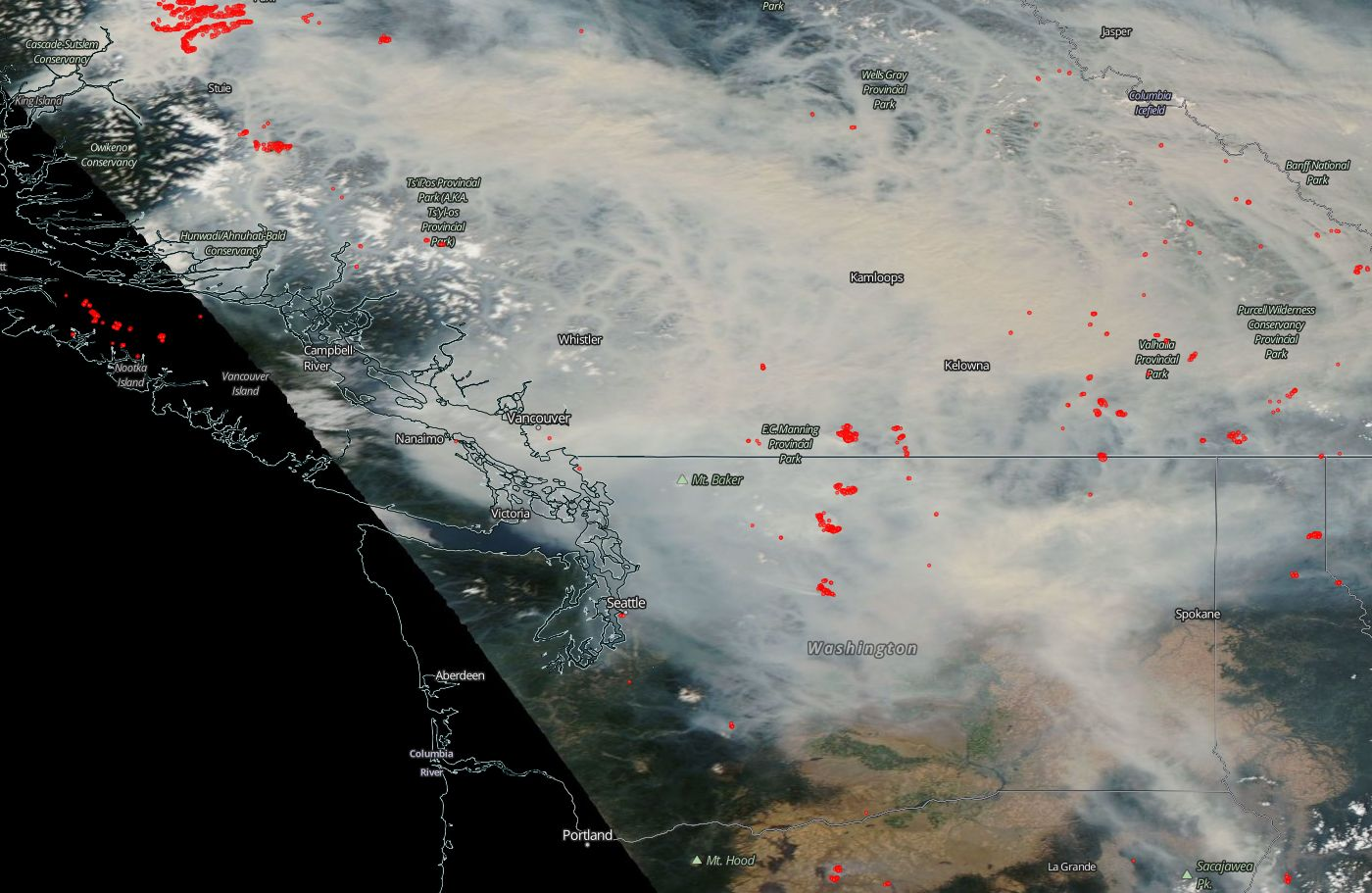 this afternoon s satellite picture shows a lot of smoke overhead gradually moving south southwest red dots are fires