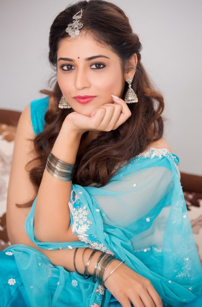 Marathi Actress Priyanka Jawalkar Photos In Blue Half Saree
