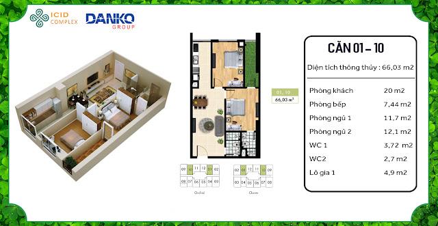 Thiết kế căn hộ điển hình ICID Complex