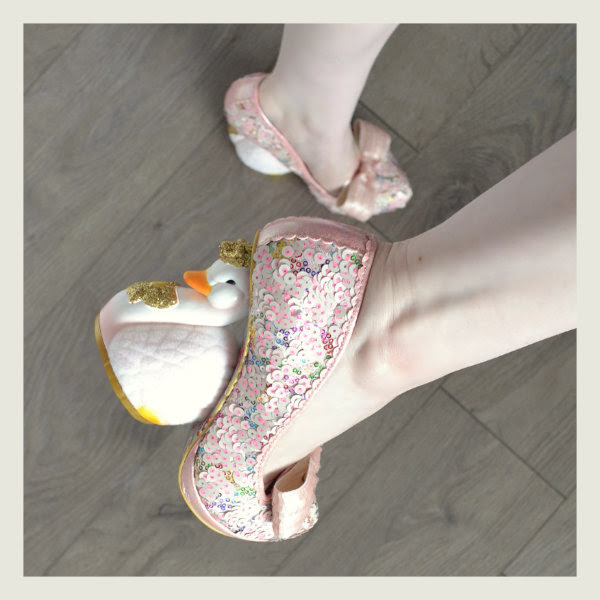 wearing irregular choice savan swan heels