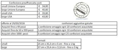Costo Confezioni preaffrancate Internazionali