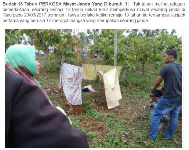 Budak 13 Tahun Perkosa Mayat Janda Yang Dibunuh