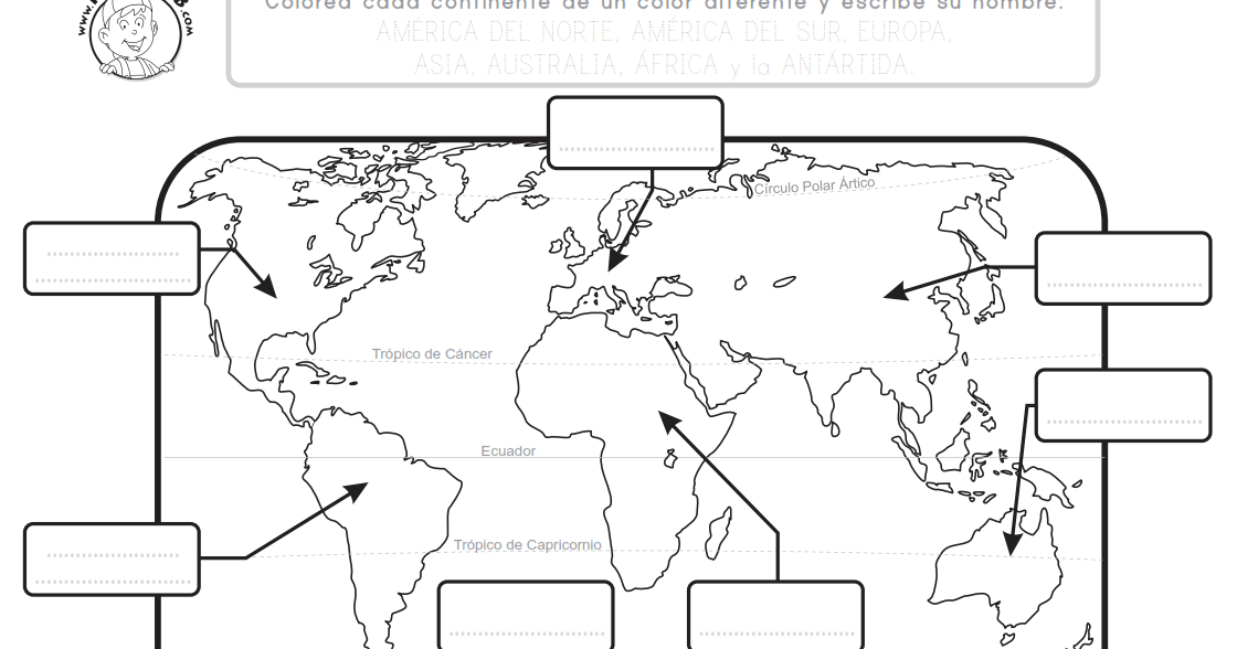 Mapa De Los Continentes Para Colorear.25 Mejor Mapamundi Para Imprimir