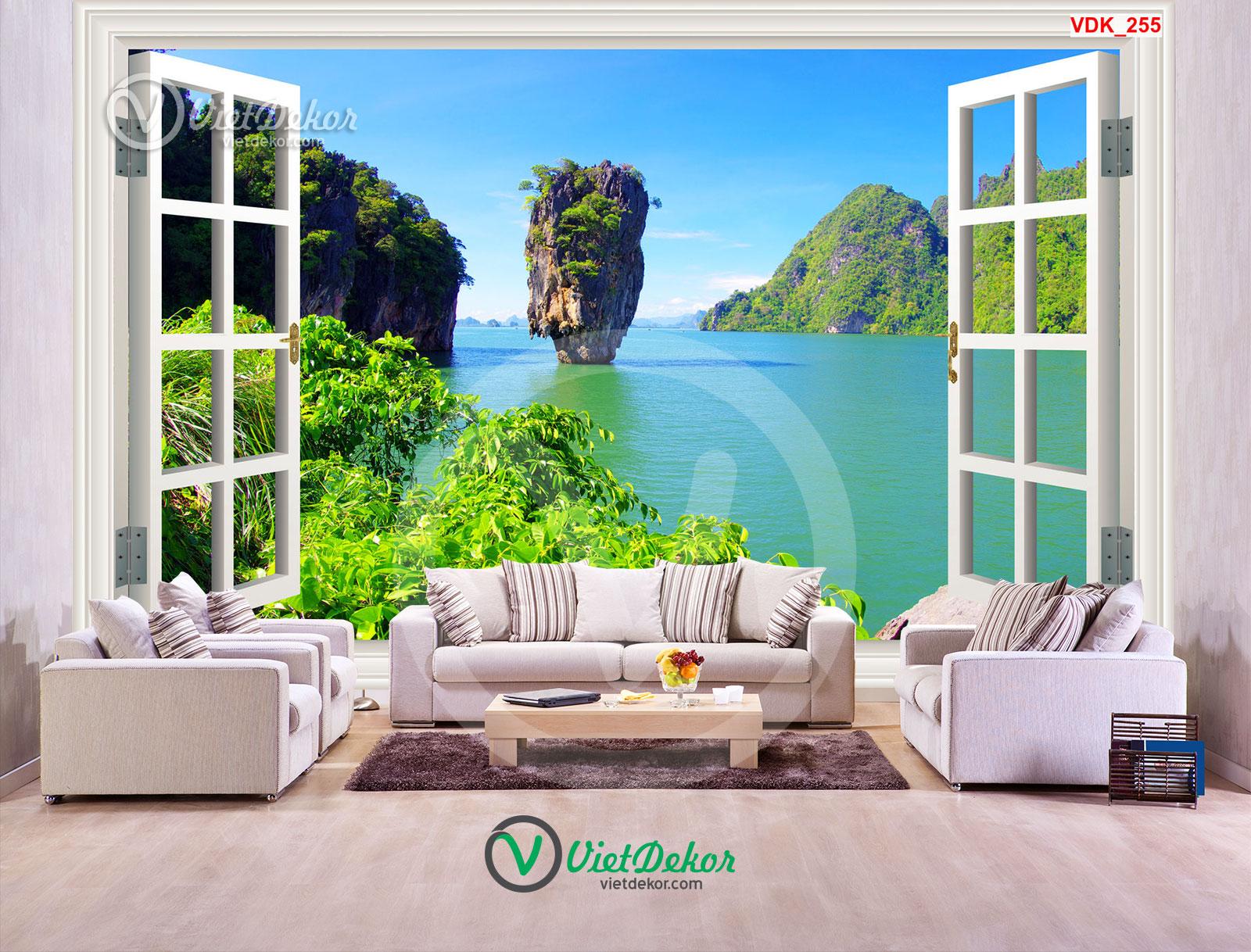 Tranh dán tường 3d cửa sổ biển và núi