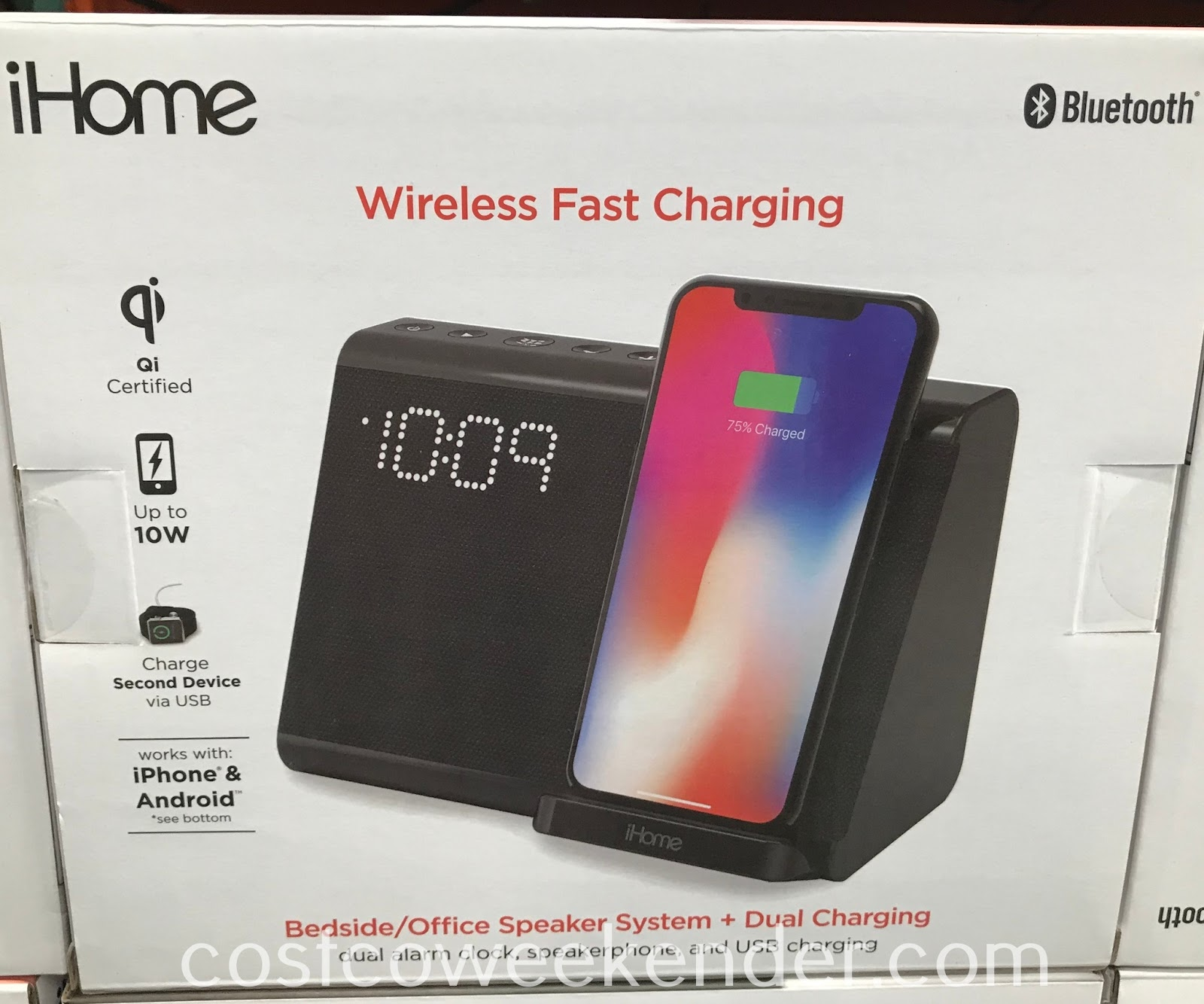 Wirelessly charge your phone with the iHome IBTW390 Dual Alarm Clock with Qi Charging