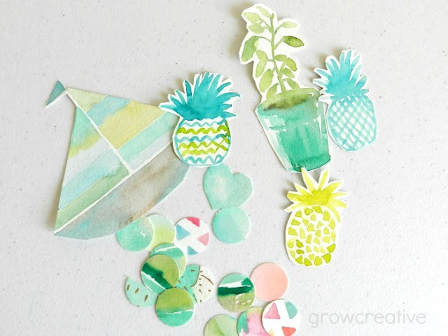 Pineapple Watercolor Cut-outs