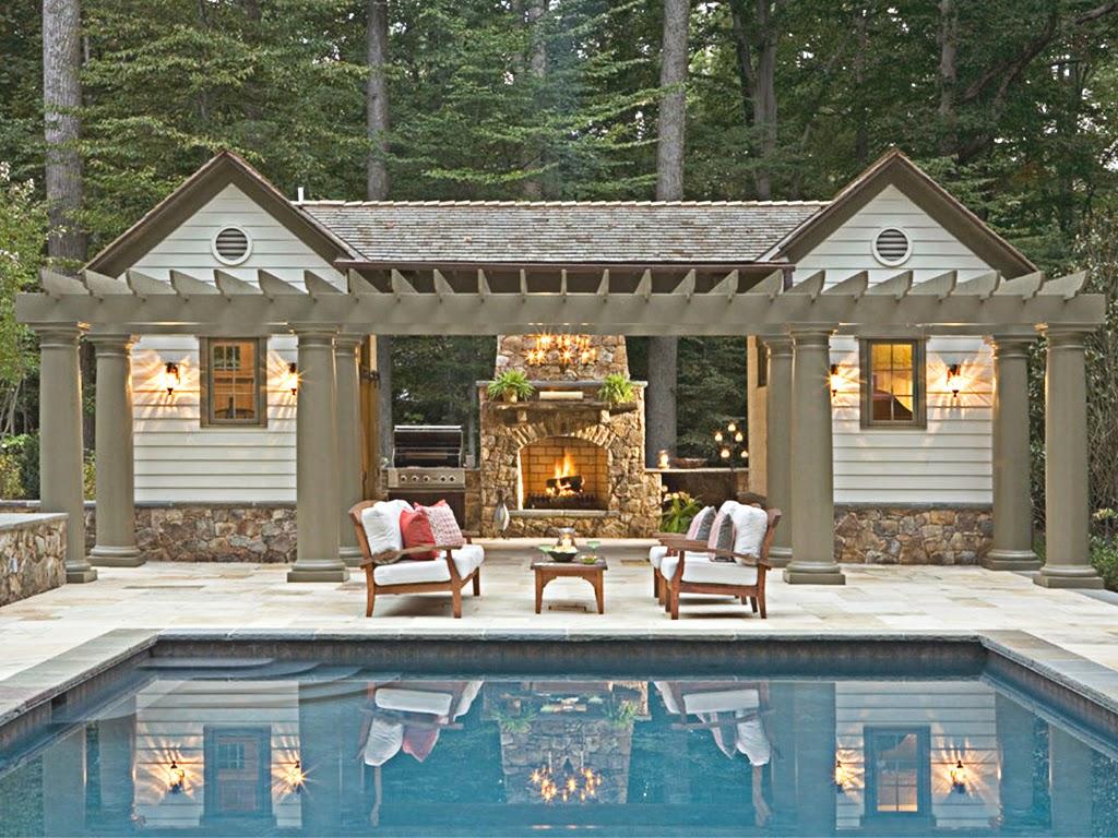 pergole piscina, terasa piscina cu coloane din polistiren