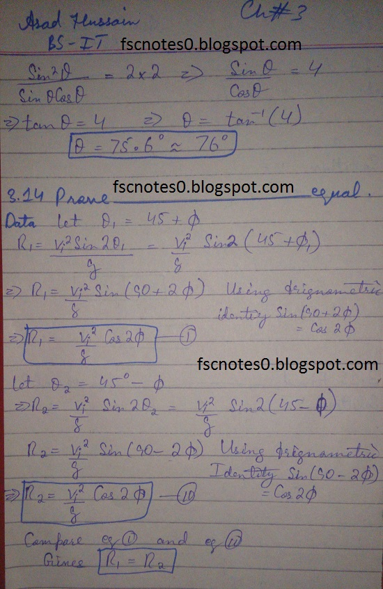 F.Sc ICS Notes: Physics XI: Chapter 3 Motion and Force Numerical Problems Asad Hussain 9