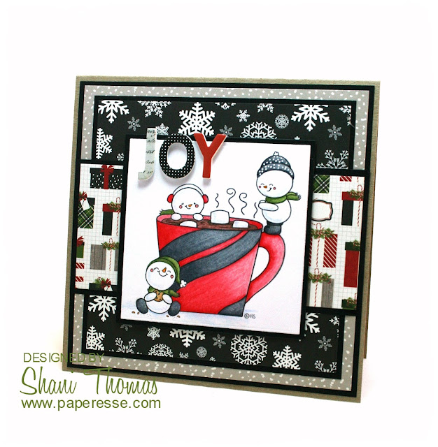 Christmas card featuring 2 Cute Ink Warm Winter Wishes digital stamp, by Paperesse.