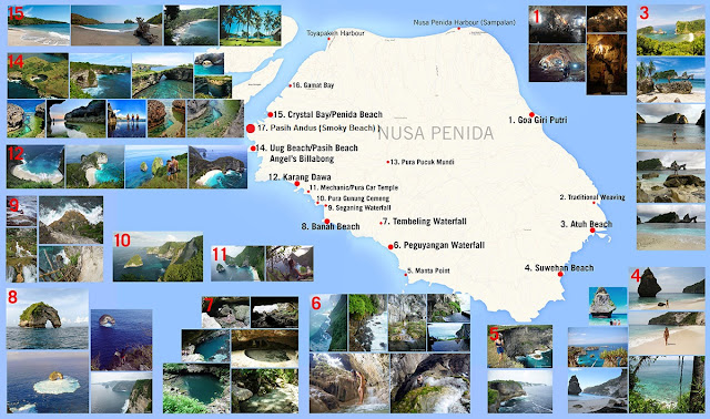 nusa penida tourism map