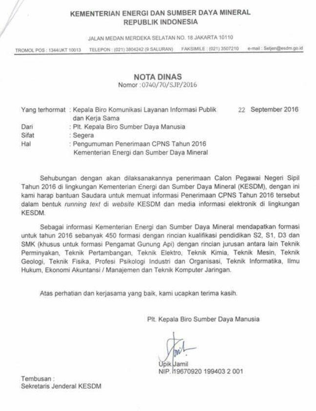 Lowongan Cpns Kementerian Esdm Terbaru Januari 2018 Rekrutmen Lowongan Kerja Terbaru Januari 2018