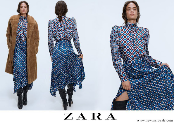 Queen Ranai wore Zara Satin effect midi skirt and top