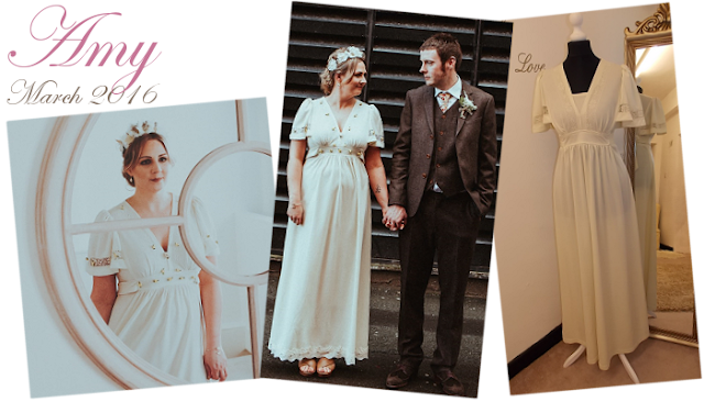 Amy chose a simple original 1970s vintage boho wedding for her special day from Vintage Lane Bridal Boutique Lancashire