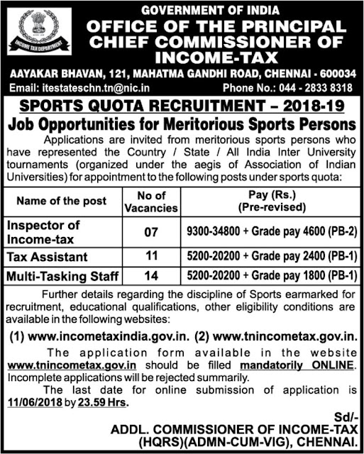 MTS, Tax Assistant, Inspector Vacancy in Income Tax Office, Chennai (32 posts-Sports Quota) - Notification May 19, 2018