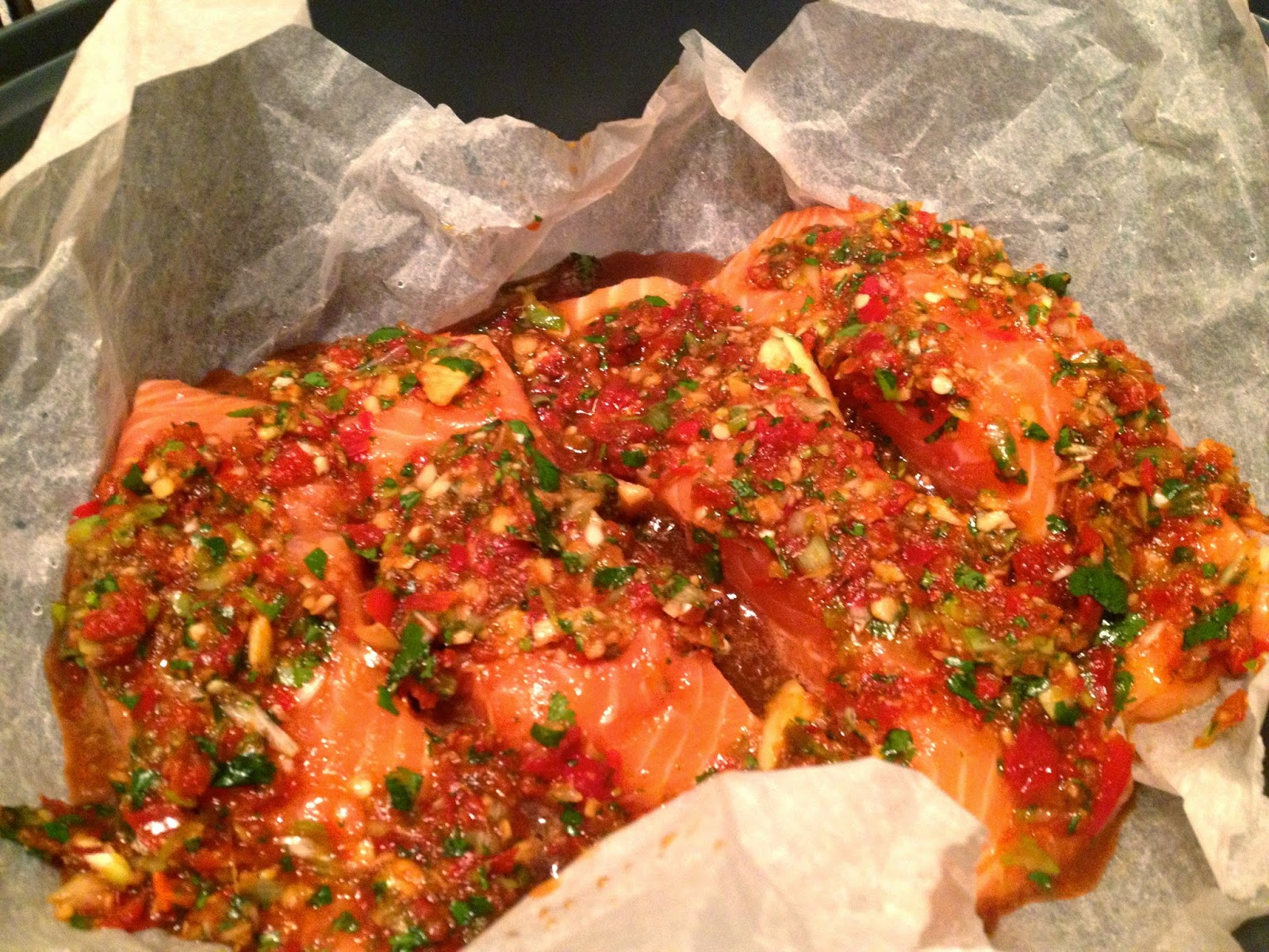 Thermomix Coriander and chilli steamed salmon