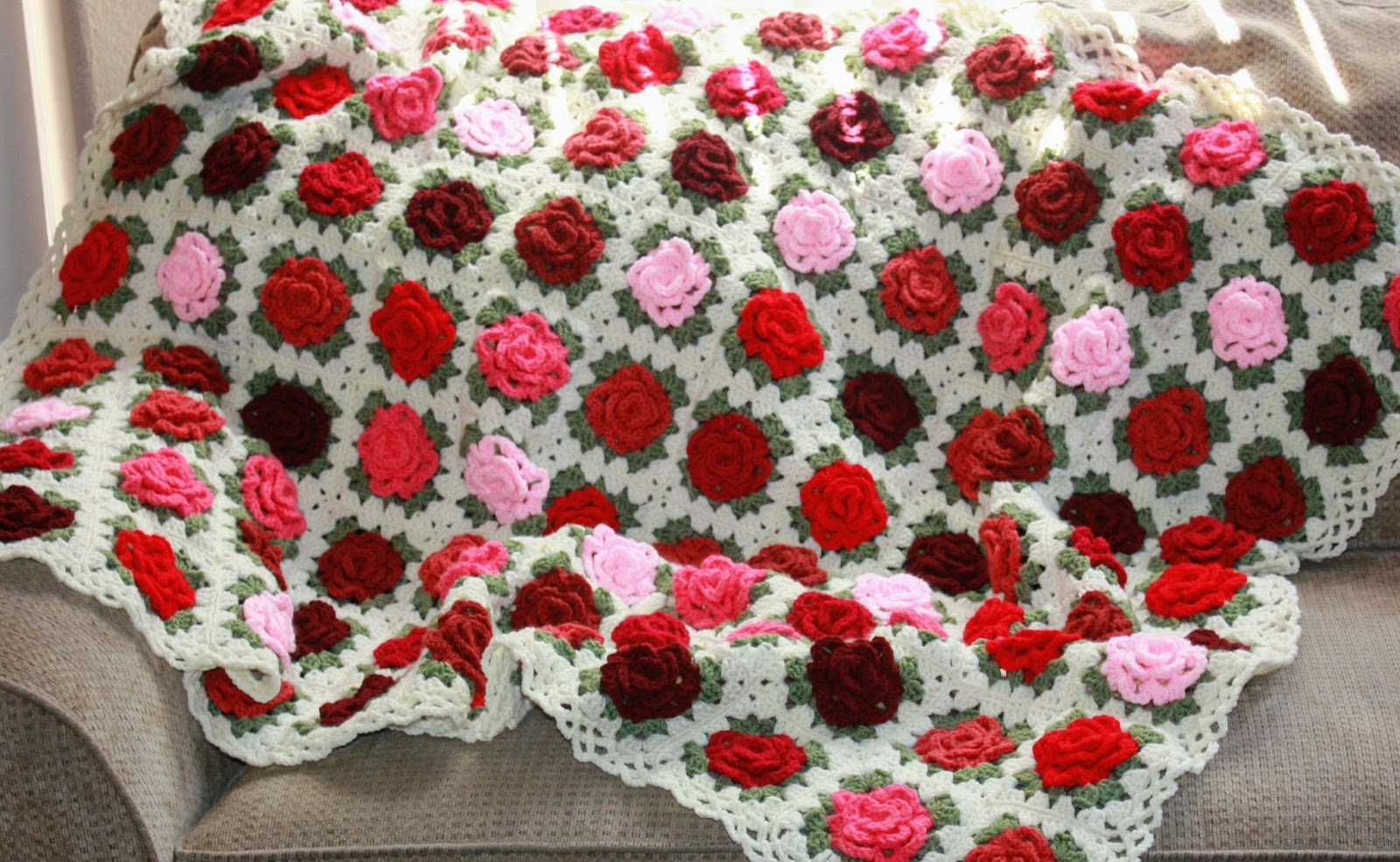Apple Blossom Dreams: Pink and Red Granny Rose Afghan of Love