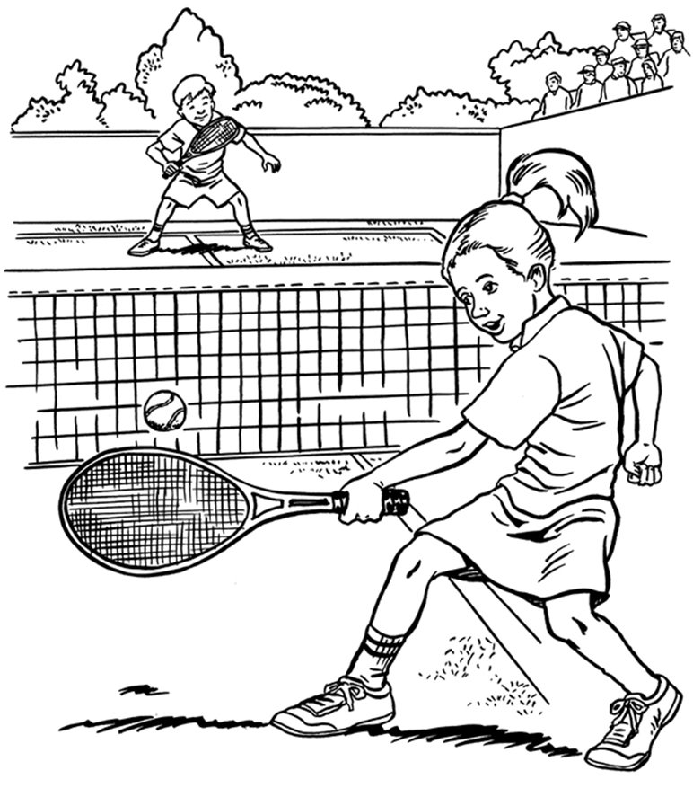 Coloring Activity Pages Boy Girl Playing Tennis Coloring Page