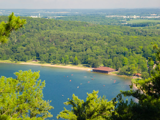 View of the Boathouse from East Bluff Trail - Devil's Lake - Baraboo WI