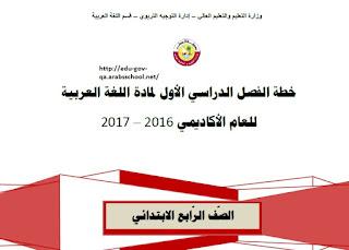 الخطة الفصلية لمادة اللغة العربية - الصف الرابع الابتدائي - الفصل الدراسي الأول 2016
