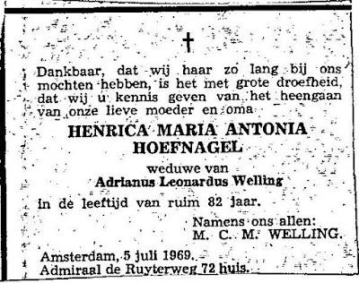 Overlijdensadvertentie Henrica Maria Antonia Hoefnagel