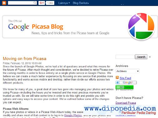 Screenshot Pengumuman Penonaktifan Picasa - Dipopedia