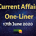Current Affairs One-Liner: 17th June 2020