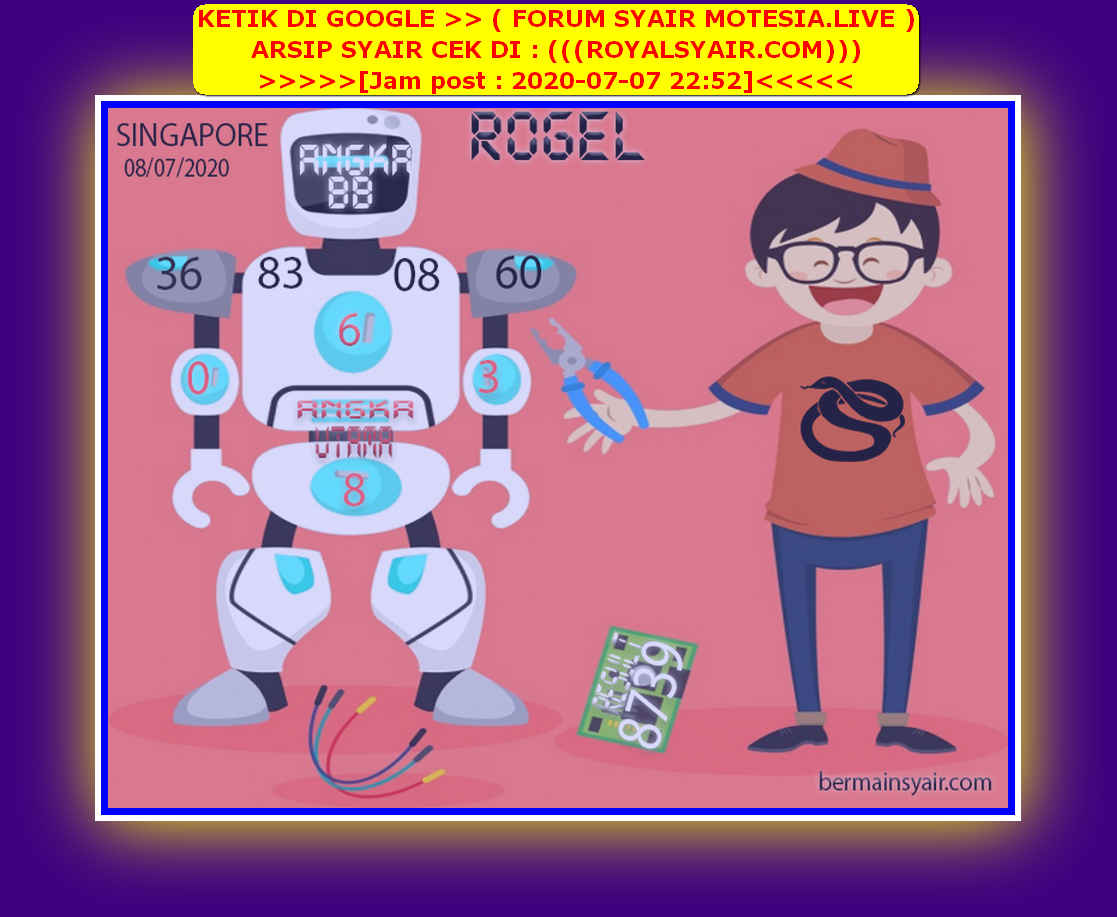 Kode syair Singapore Rabu 8 Juli 2020 253