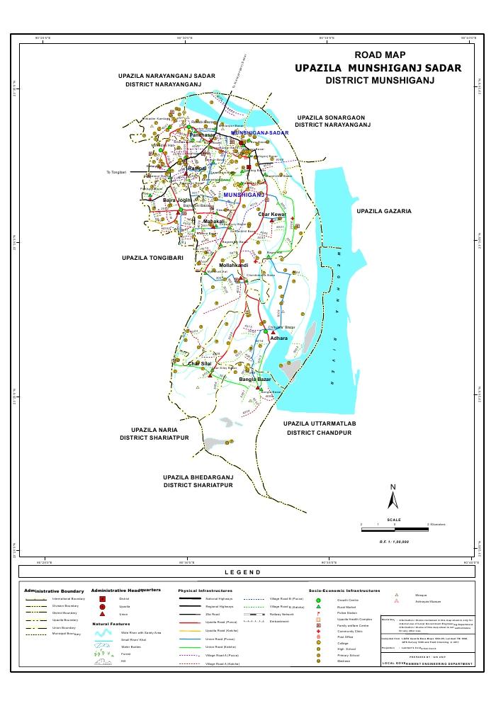 Munshiganj Sadar Upazila Road Map Munshiganj District Bangladesh