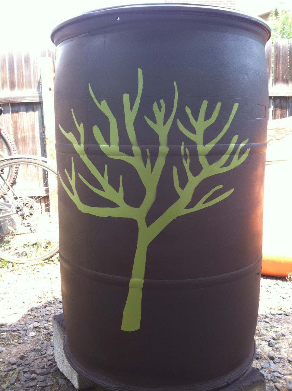 Live In The Current Stenciled Rain Barrel Tutorial