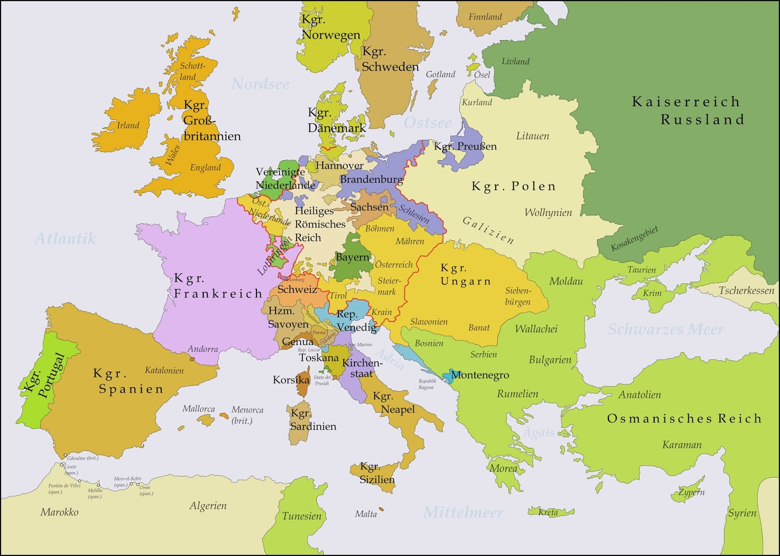 A map of Europe between 1748 and 1766
