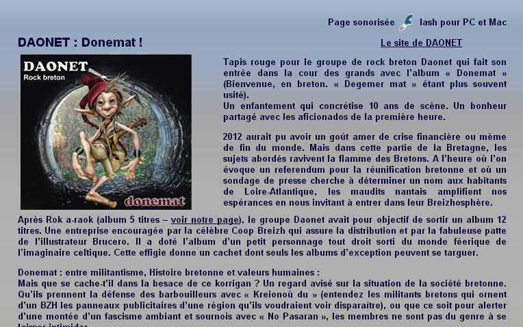 Article sur Daonet dans le magazine en ligne Culture et Celtie